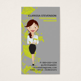Business Woman Character Logo Lime Green Floral Business Card