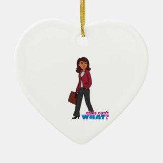 Business Woman - Dark Ceramic Heart Decoration