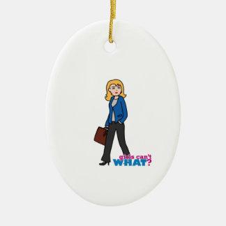 Business Woman - Light/Blonde Ceramic Oval Decoration