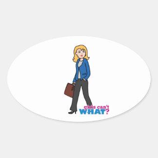 Business Woman - Light/Blonde Oval Sticker