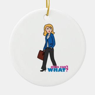 Business Woman - Light/Blonde Round Ceramic Decoration