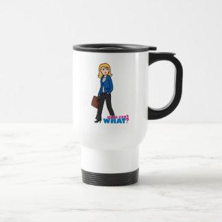 Business Woman - Light/Blonde Stainless Steel Travel Mug