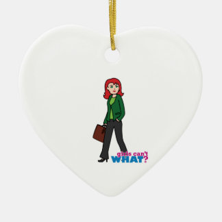 Business Woman Light/Red Ceramic Heart Decoration