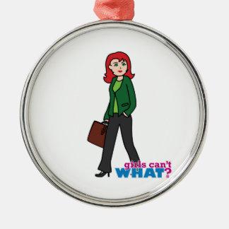 Business Woman Light/Red Silver-Colored Round Decoration