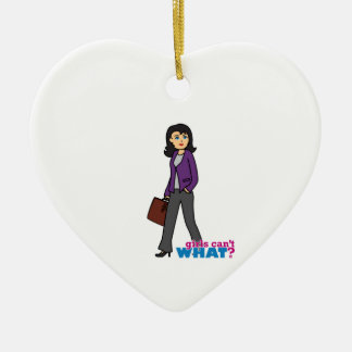 Business Woman - Medium Ceramic Heart Decoration
