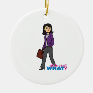 Business Woman - Medium Round Ceramic Decoration