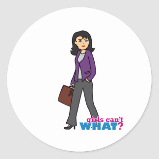 Business Woman - Medium Round Sticker
