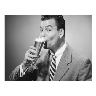 Businessman Drinking Beer Postcard
