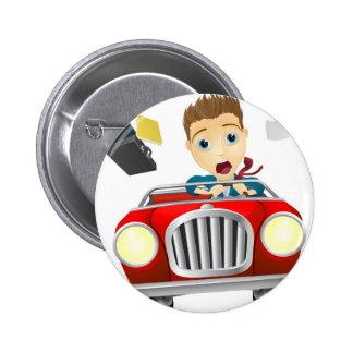 Businessman driving car fast button