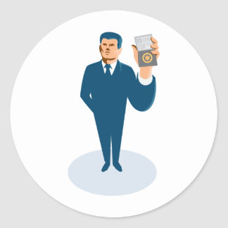 businessman secret agent showing id card badge wal classic round sticker