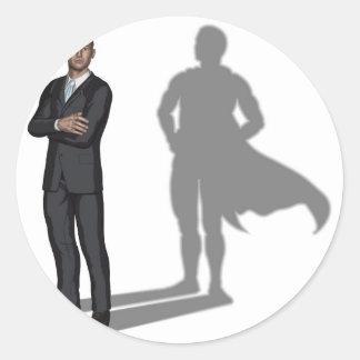 Businessman superhero concept round stickers