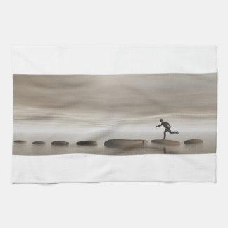 businessman that runs on steps grey - 3D rendering Tea Towel
