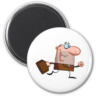 Businessman Walks With Briefcase 6 Cm Round Magnet