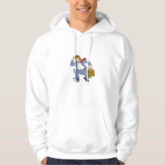 Businessman With Briefcase Running Cartoon Hooded Pullover