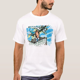 Businessman with newspaper and airplane above T-Shirt