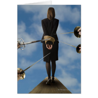 businessperson walking the plank card