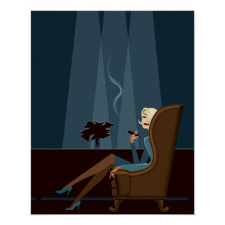 Businesswoman Smoking Cigar Print