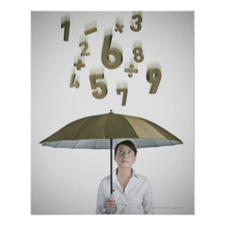 Businesswoman under umbrella with numbers and poster