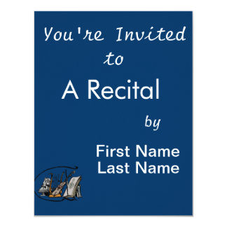 "bust music violin sheet music design.png 4.25"" x 5.5"" invitation card"