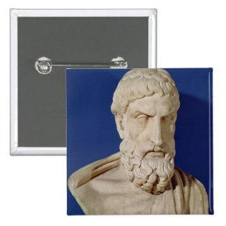 Bust of Epicurus 15 Cm Square Badge