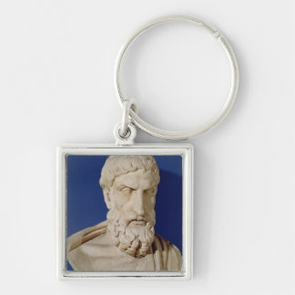 Bust of Epicurus Silver-Colored Square Key Ring