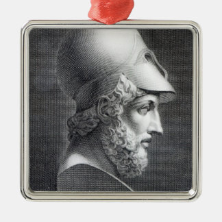 Bust of Pericles, engraved by Giuseppe Cozzi Silver-Colored Square Decoration