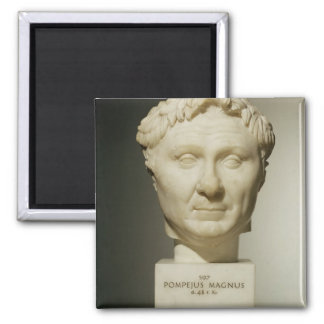 Bust of Pompey (106-48 BC) c.60 BC (marble) Square Magnet