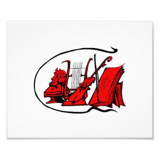 bust red lyre violin sheet music design.png photo print
