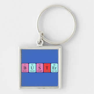 Buster periodic table name keyring Silver-Colored square key ring