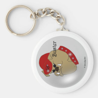 Buster The Bulldog Basic Round Button Key Ring