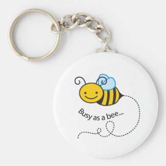 Busy as a  bee basic round button key ring