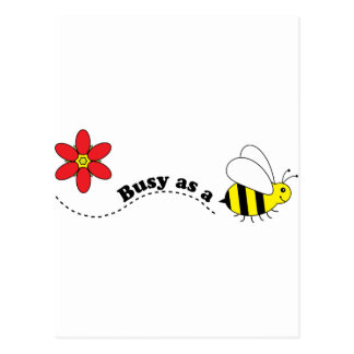 Busy as a Bee Happy Bees and Flowers Cartoon Postcard