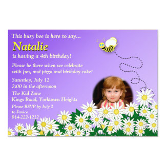 """""""Busy Bee"""" and Flowers Birthday Invitation"""