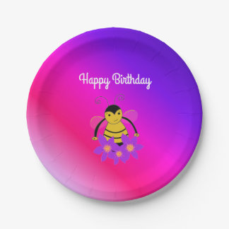 Busy Bee Birthday Paper Plate