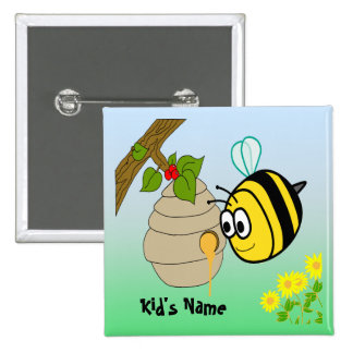 Busy Bee Cute Kid s Button