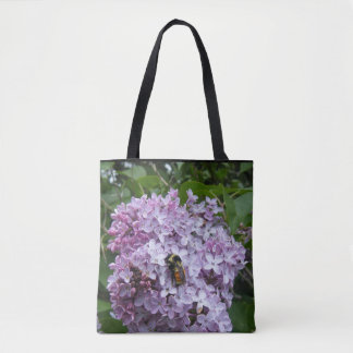 Busy Bee on a Lilac Tote Bag