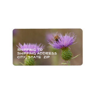 Busy Bee On Purple Thistle Photograph Address Label