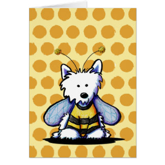 Busy Bee Westie Dog Greeting Card