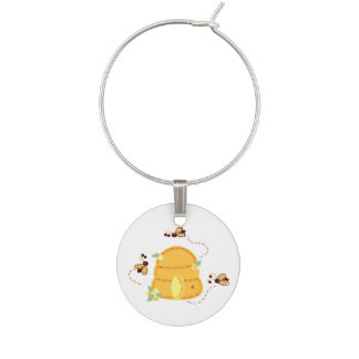 Busy Bees around their Beehive Wine Charm