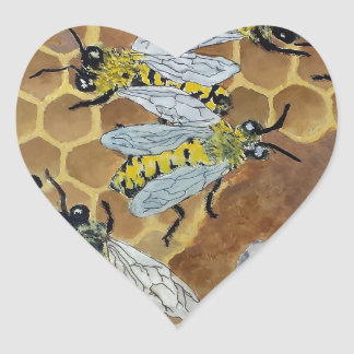 Busy Bees Heart Sticker