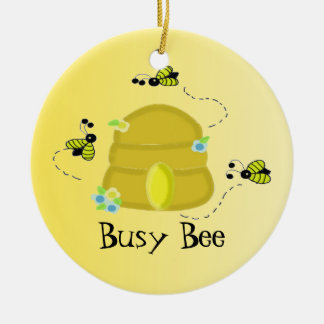 Busy Bees with Beehive Ceramic Ornament