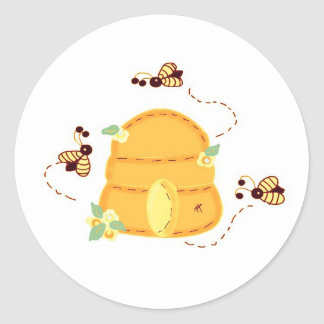 Busy Bees with their Beehive Classic Round Sticker