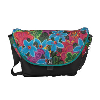 Busy Bugs and Flowers Abstract Garden Painting Messenger Bag