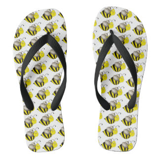 Busy Bumble Bee Bumblebee Yellow Black Bees Print Thongs