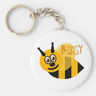 Busy Bumble Bee Cute Basic Round Button Key Ring