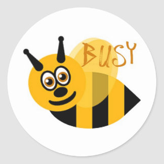 Busy Bumble Bee Cute Round Sticker