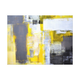 'Busy, Busy' Grey and Yellow Abstract Art Canvas Print