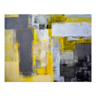 'Busy, Busy' Grey and Yellow Abstract Art Poster