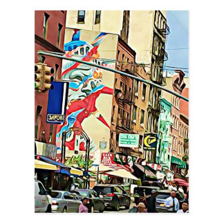 Busy Chinatown in NYC Postcard