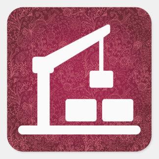 Busy Cranes Minimal Square Sticker